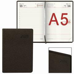 """Ежедневник датированный 2018, А5, BRAUBERG """"Stylish"""", интегральная обложка, цветной срез, коричневый, 138х213 мм"""