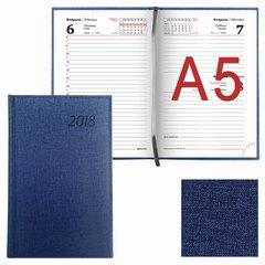 "Ежедневник датированный 2018, А5, BRAUBERG ""Move"", ""джинсовая кожа"", темно-синий, 138х213 мм"