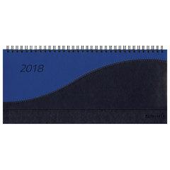 """Планинг настольный датированный 2018, BRAUBERG """"Bond"""", """"комбинированная кожа"""", синий/голубой, 305х140 мм"""