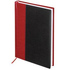 """Ежедневник недатированный А5 (138х213 мм) BRAUBERG """"Prestige"""", комбинированный, 160 л., красный/черный, 128281"""