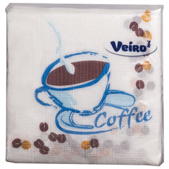 Салфетки бумажные 100 шт., 24х24 см, VEIRO, с рисунком кофе, 100% целлюлоза, 24Р1/100