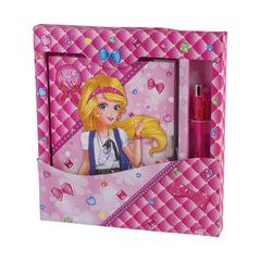"""Блокнот 7БЦ, А5, 56 л., металлический замок+ручка, подарочная упаковка, BRAUBERG """"Красивая девочка"""", 130х175 мм"""