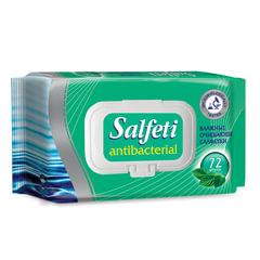 """Салфетки влажные, 72 шт., SALFETI """"Antibacterial"""", антибактериальные, крышка-клапан"""