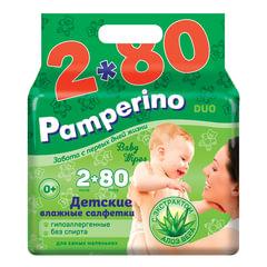 """Салфетки влажные, 160 (80х2) шт., для детей, PAMPERINO """"Duo"""", с экстрактом алоэ вера"""