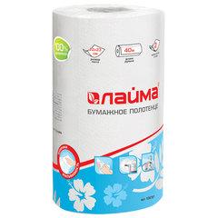 Полотенце бумажное бытовое, 2-х слойное, 40 м, ЛАЙМА, 22х23 см, белое
