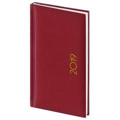 """Еженедельник датированный 2019 г., А6, BRAUBERG """"Select"""", кожа классик, красный, 95х155 мм"""