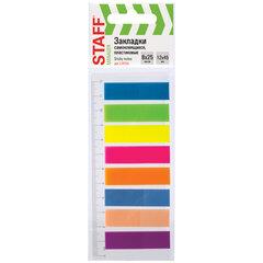 Закладки клейкие STAFF, НЕОНОВЫЕ пластиковые, 45х12 мм, 8 цветов х 25 листов, на пластиковой линейке 12 см, 129356