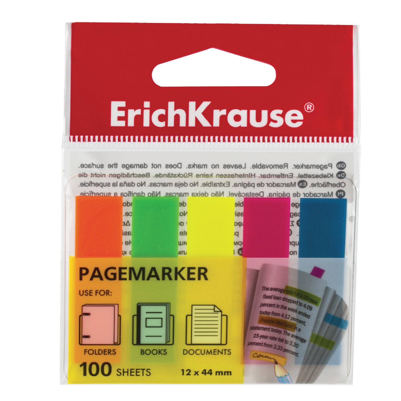 """Закладки клейкие ERICH KRAUSE """"Neon"""", 44х12 мм, 5 цветов х 20 листов, в пластиковой книжке"""