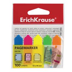 """Закладки клейкие ERICH KRAUSE """"Neon Arrows"""", 44х12 мм, 5 цветов х 20 листов, в пластиковой книжке"""