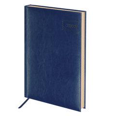 """Ежедневник датированный 2020 А4, BRAUBERG """"Imperial"""", гладкая кожа, кремовый блок, тёмно-синий, 210х297 мм"""