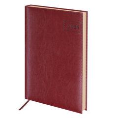 """Ежедневник датированный 2020 А4, BRAUBERG """"Imperial"""", гладкая кожа, кремовый блок, бордовый, 210х297 мм"""