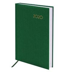 """Ежедневник датированный 2020 А5, BRAUBERG """"Select"""", кожа классик, зеленый, 138х213 мм"""