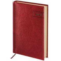 """Ежедневник датированный 2020 А6, BRAUBERG """"Imperial"""", гладкая кожа, кремовый блок, бордовый, 100х150 мм"""
