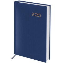 """Ежедневник датированный 2020 А6, BRAUBERG """"Select"""", кожа классик, темно-синий, 100х150 мм"""