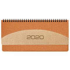 "Планинг настольный датированный 2020 BRAUBERG ""SimplyNew"", кожзам, оранжевый/бежевый, 305х140 мм"