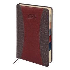 """Ежедневник датированный 2020, А5, GALANT """"CombiContract"""", кожа, вырубной блок, коричневый, 148х218 мм"""