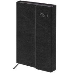 """Ежедневник датированный 2020, А5, GALANT """"Black"""", магнитный клапан, вырубной блок, черный, 148х218 мм"""