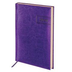 """Ежедневник датированный 2020 А5, BRAUBERG """"Imperial"""", гладкая кожа, кремовый блок, фиолетовый, 138х213 мм"""