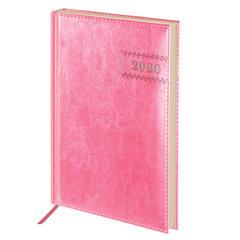 """Ежедневник датированный 2020 А5, BRAUBERG """"Imperial"""", гладкая кожа, кремовый блок, розовый, 138х213 мм"""