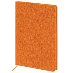 """Ежедневник датированный 2020 А5, BRAUBERG """"Stylish"""", интегральная обложка, цветной срез, оранжевый, 138х213 мм"""