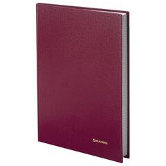 Книга учета 96 л., А4 200х290 мм BRAUBERG, клетка, твердая обложка, бумвинил, блок офсет, бордовая, 130224