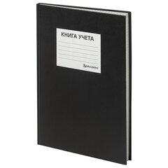 Книга учета 144 л., А4 (200х290 мм), клетка, твердая, бумвинил, блок офсет, наклейка, BRAUBERG,130225