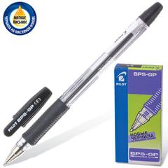 """Ручка шариковая масляная с грипом PILOT """"BPS-GP"""", ЧЕРНАЯ, корпус прозрачный, узел 0,7 мм, линия письма 0,32 мм, BPS-GP-F"""