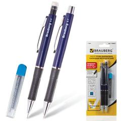"Набор BRAUBERG ""Modern"", ручка шариковая + механический карандаш 0,5 мм + грифели 12 шт., блистер, синяя"