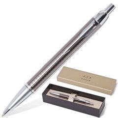 """Ручка шариковая PARKER IM Premium """"Dark Grey"""", корпус вороненая сталь, латунь, хромированные детали, S0908710, синяя"""