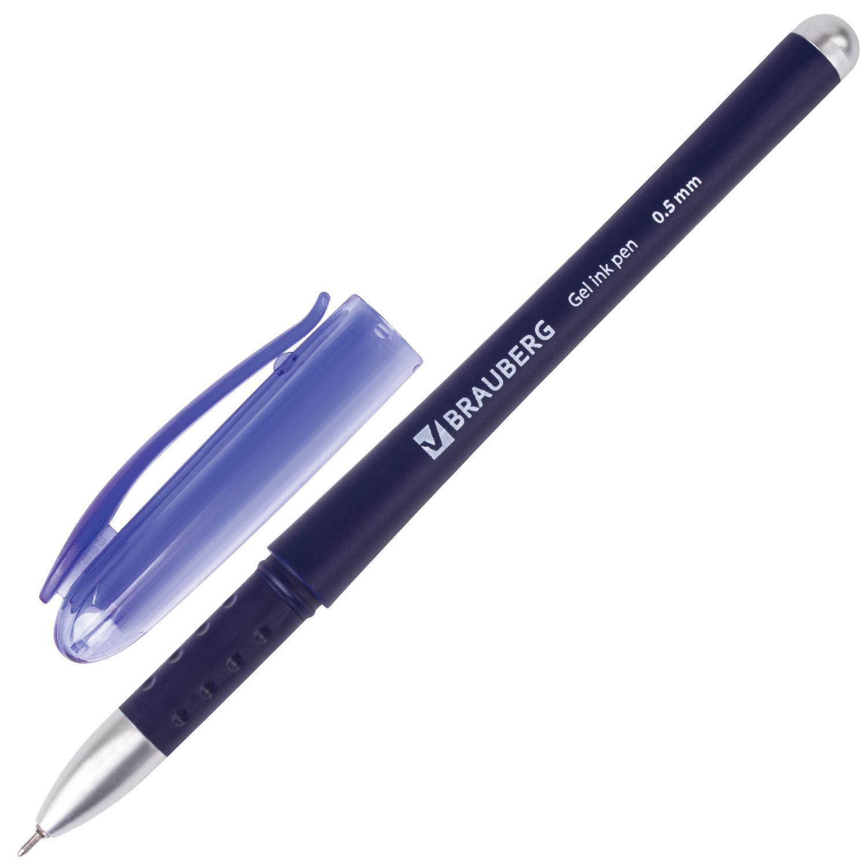 """Ручка гелевая с грипом BRAUBERG """"Impulse"""", СИНЯЯ, игольчатый узел 0,5 мм, линия письма 0,35 мм, 141182"""