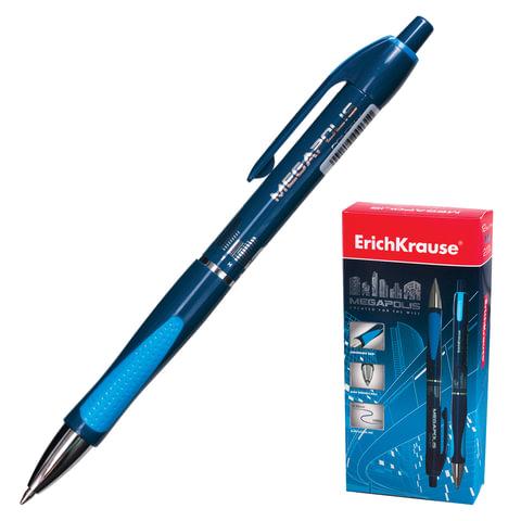 """Ручка шариковая автоматическая ERICH KRAUSE """"Megapolis Concept"""", корпус синий, узел 0,7 мм, линия 0,35 мм, синяя"""