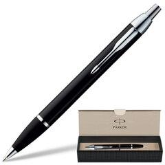 """Ручка шариковая PARKER """"IM Black CT"""", корпус черный, латунь, хромированные детали, S0856430, синяя"""