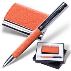 """Набор GALANT """"Prestige Collection"""": ручка, визитница, оранжевый, """"фактурная кожа"""", подарочная кор."""