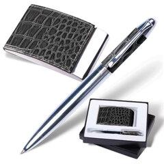 """Набор GALANT """"Prestige Collection"""": ручка, визитница, черный, """"кожа крокодила"""", подарочная коробка, 141377"""