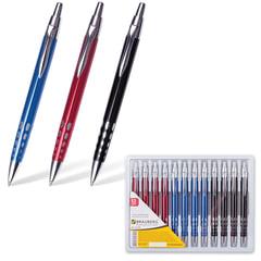 """Ручка шариковая BRAUBERG бизнес-класса """"Frost"""", корпус ассорти, серебристые детали, 1 мм, синяя"""