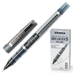 """Ручка-роллер ZEBRA """"Zeb-Roller DX5"""", ЧЕРНАЯ, корпус серебристый, узел 0,5 мм, линия письма 0,3 мм"""