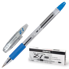 """Ручка шариковая ZEBRA """"Z-1"""", корпус прозрачный, узел 0,7 мм, линия 0,5 мм, резиновый упор, синяя"""