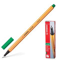 """Ручка капиллярная STABILO """"Point"""", ЗЕЛЕНАЯ, корпус оранжевый, линия письма 0,4 мм"""