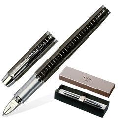 """Ручка подарочная """"5-й пишущий узел"""" PARKER """"IM Premium Deep Gun Metal Chiselled CT"""", вороненая сталь, гравировка, черная, S0976110"""