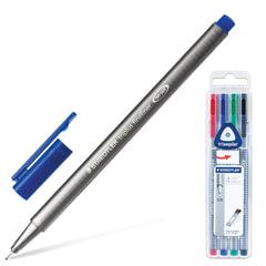 Ручки капиллярные STAEDTLER, набор 4 штуки, трехгранные, толщина письма 0,3 мм, ассорти