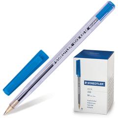"""Ручка шариковая STAEDTLER """"Stick Document"""", корпус прозрачный, узел 1,2 мм, линия 0,5 мм, синяя"""