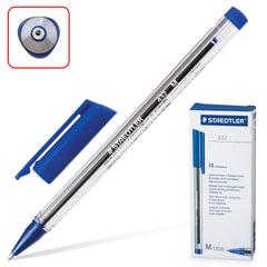 """Ручка шариковая STAEDTLER """"Ball"""", трехгранная, корпус прозрачный, узел 1 мм, линия 0,5 мм, синяя"""