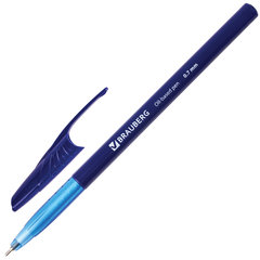 """Ручка шариковая масляная BRAUBERG """"Oil Base"""", СИНЯЯ, корпус синий, узел 0,7 мм, линия письма 0,35 мм, 141634"""