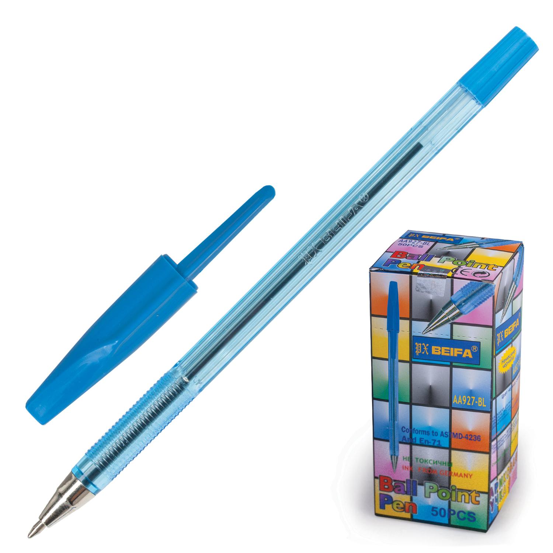 Ручка шариковая BEIFA (Бэйфа) 927, корпус тонированный синий, узел 0,7 мм, линия письма 0,5 мм, AA927-BL