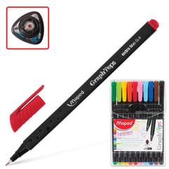 """Ручки капиллярные MAPED (Франция) набор 10 шт., """"Graph Pep's"""", трехгранная, толщина письма 0,4 мм, ассорти"""
