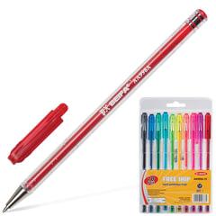 Ручки шариковые BEIFA (Бэйфа), набор 10 шт., корпус полупрозрачный с блестками, 1 мм, европодвес, цвет ассорти