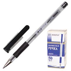 Ручка шариковая BEIFA (Бэйфа), корпус прозрачный, узел 0,7 мм, линия 0,5 мм, резиновый упор, черная