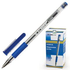 Ручка шариковая BEIFA (Бэйфа), корпус прозрачный, узел 0,7 мм, линия 0,5 мм, резиновый упор, синяя