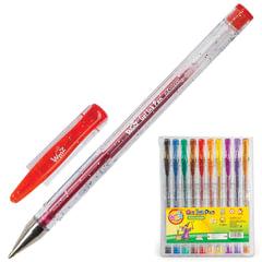 """Ручки гелевые BEIFA (Бэйфа), набор 10 шт., """"WMZ"""", корпус прозрачный с блестками, цветные детали, 0,7 мм, подвес, ассорти"""