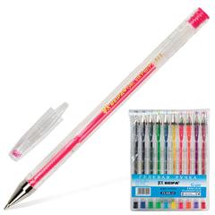 Ручки гелевые BEIFA (Бэйфа), набор 10 шт., корпус прозрачный, цветные детали, металлический наконечник, 0,5 мм, подвес, ассорти